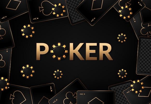 Cartas de jogar e cassino de fichas de pôquer Vetor Premium