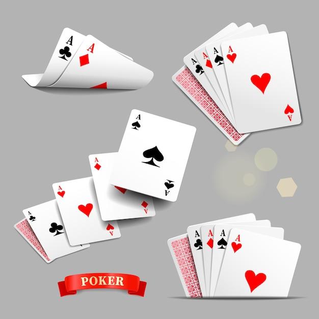 Cartas de jogar, quatro ases jogando cartas. Vetor Premium