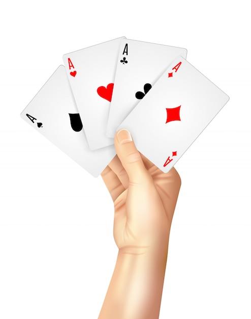 Cartas de jogar regulares se espalham segurando a mão Vetor grátis