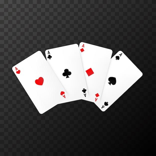 Cartas de poker simples no transparente Vetor Premium