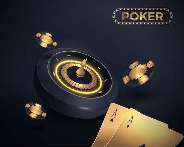 Cartas de pôquer de cassino e design de roleta Vetor Premium