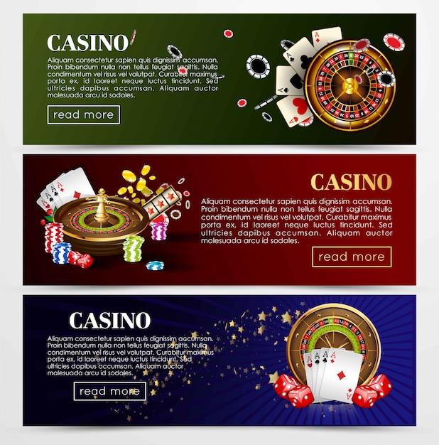 Cartas de roleta de poker de casino, dados Vetor Premium