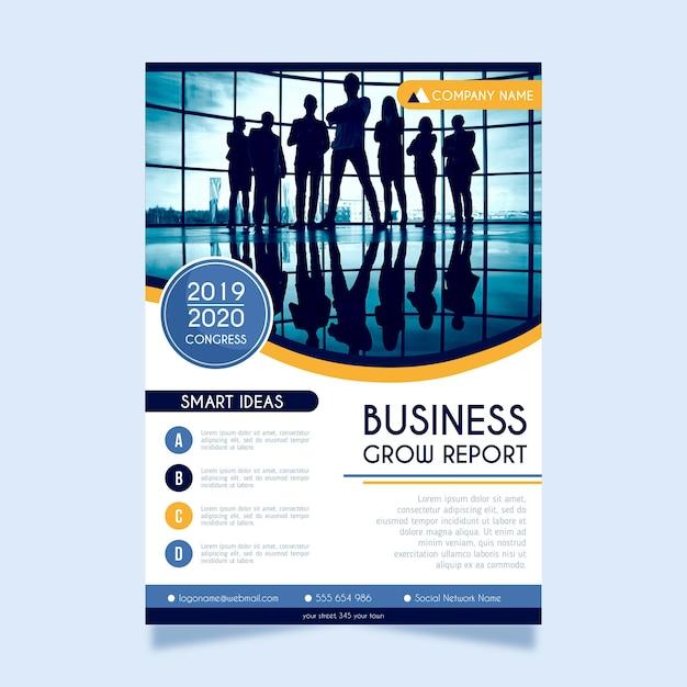 Cartaz abstrato para negócios com foto Vetor grátis