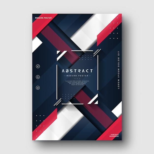 Cartaz abstrato vermelho azul minimalista moderno Vetor Premium