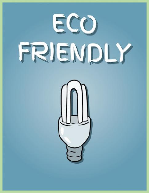 Cartaz amigável de eco. imagem de lâmpada econômica. salvando a ilustração de lâmpada Vetor Premium