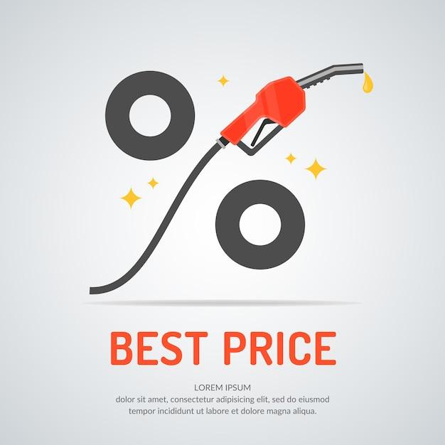 Cartaz anunciando um desconto no combustível. ilustração. Vetor Premium