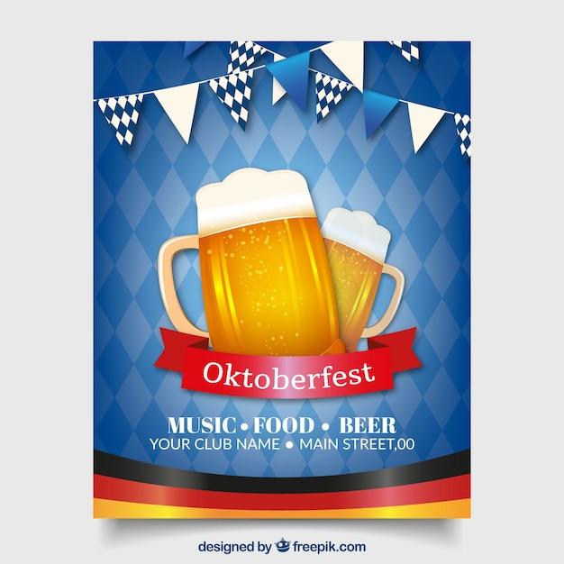 Cartaz azul mais oktoberfest com duas cervejas Vetor grátis