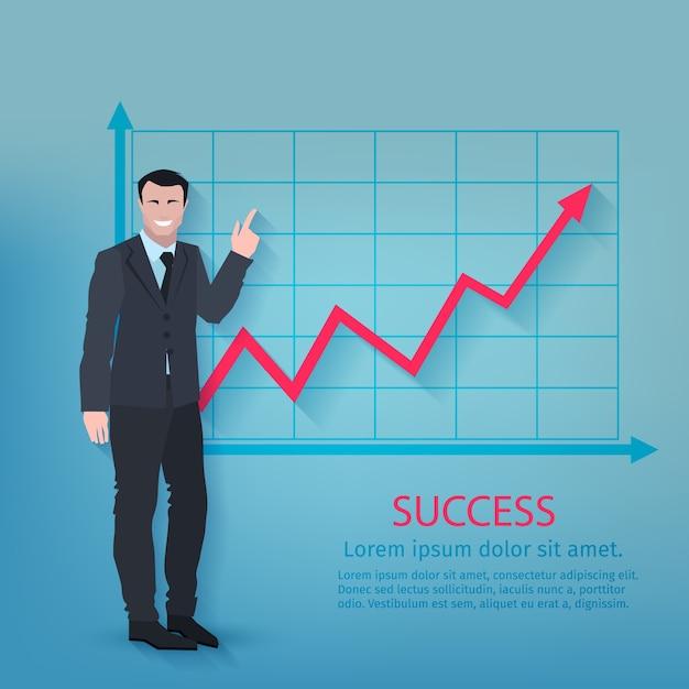 Cartaz bem sucedido do homem de negócios Vetor grátis