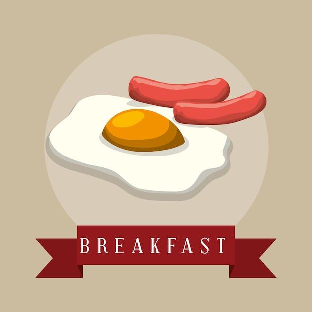 Cartaz café da manhã frito olhos salsichas fita Vetor Premium