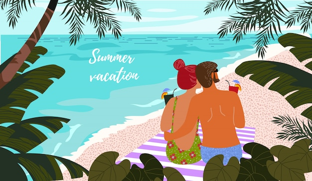 Cartaz, cartão ou capa com uma ilustração de um casal em um fundo de mar azul e folhas tropicais. Vetor Premium