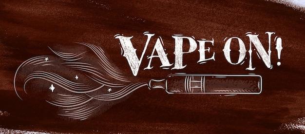 Cartaz cigarro eletrônico, vaporizador com nuvem de fumaça no estilo vintage lettering vape na Vetor Premium