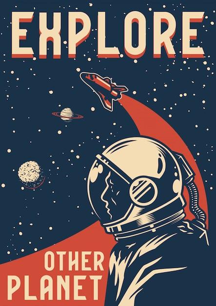 Cartaz colorido de exploração espacial Vetor Premium