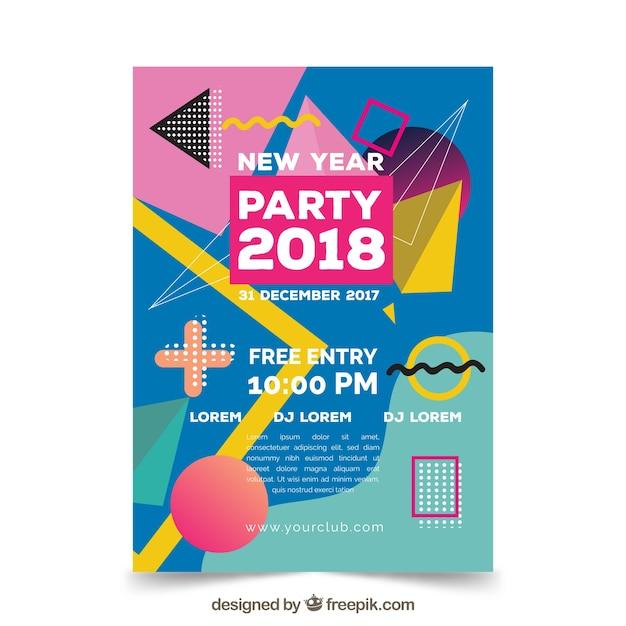 Cartaz colorido do ano novo do partido no estilo de memphis Vetor grátis
