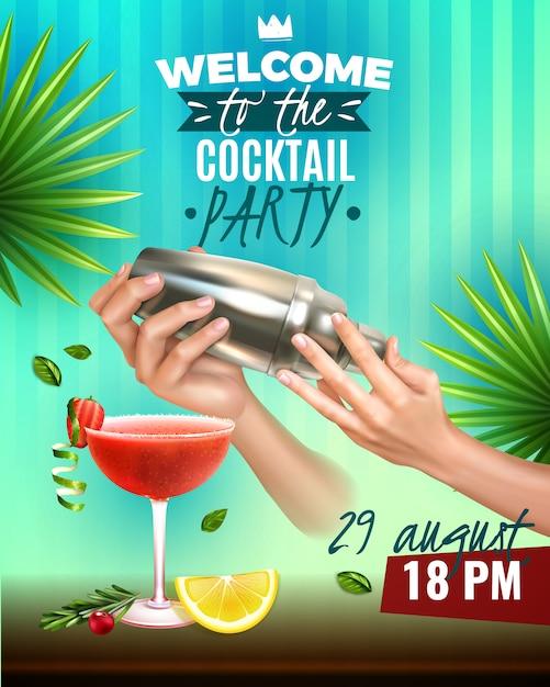 Cartaz colorido realista festa com mãos de barman fazendo deliciosas bebidas Vetor grátis