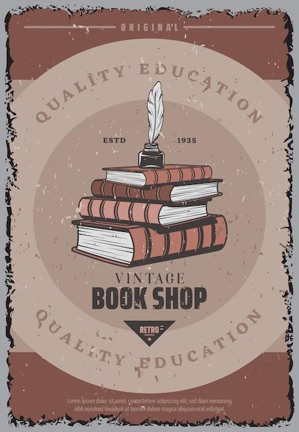 Cartaz colorido vintage da livraria com pena e tinteiro na pilha de livros Vetor grátis