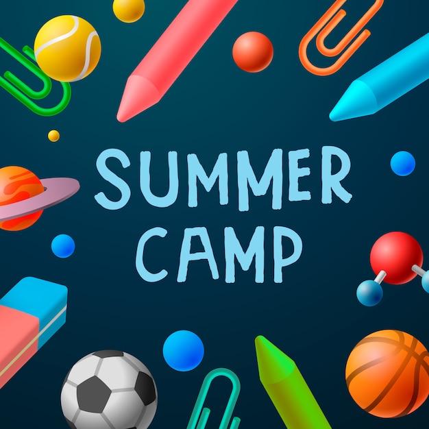 Cartaz com acampamento de verão, jogos de esporte Vetor Premium