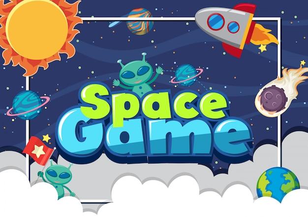 Cartaz com alienígenas e muitos planetas Vetor Premium
