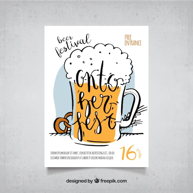 Cartaz com cerveja desenhada à mão e pretzel Vetor grátis