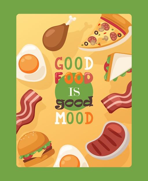 Cartaz com citação boa comida é bom humor fast-food publicidade panfleto café rua menu decoração Vetor Premium