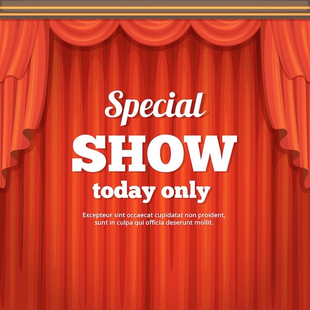Cartaz com palco de teatro e cortina vermelha. ilustração do estilo dos desenhos animados Vetor Premium