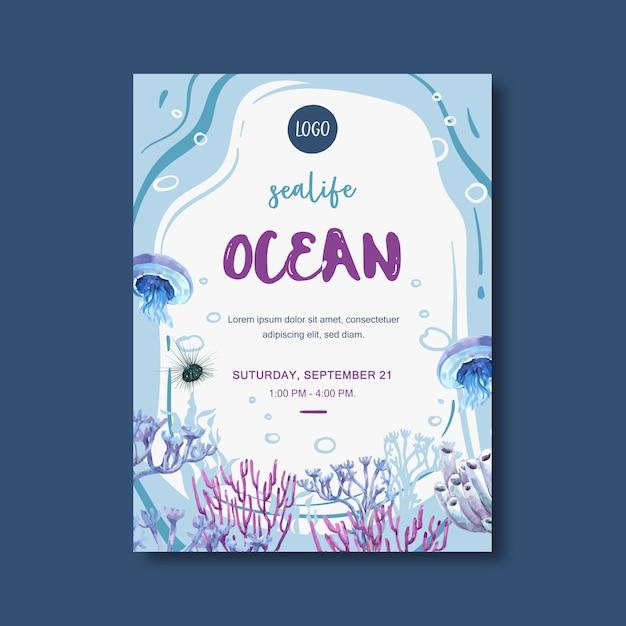Cartaz com tema de vida marinha, água-viva criativa e ilustração em aquarela de coral. Vetor grátis