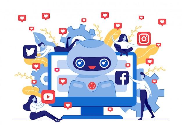 Cartaz como bot para redes sociais cartoon flat. Vetor Premium