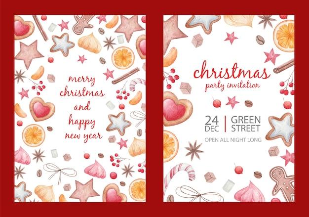 Cartaz conjunto de natal, especiarias e guloseimas de natal, pirulitos, uma xícara de café, fatias de frutas cítricas, biscoitos, anis estrelado, ilustração de aquarela em um fundo branco Vetor Premium