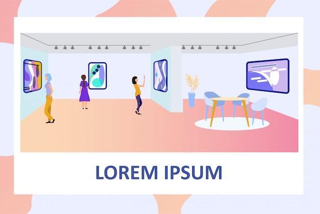 Cartaz convidando a visitar a exposição na galeria de arte Vetor Premium