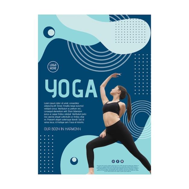 Cartaz da aula de ioga com foto Vetor grátis