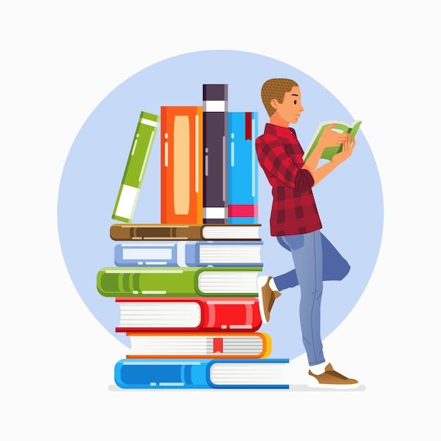 Cartaz da campanha do dia mundial da alfabetização com jovem lendo livro e apoiando-se na ilustração de uma pilha de livros Vetor Premium