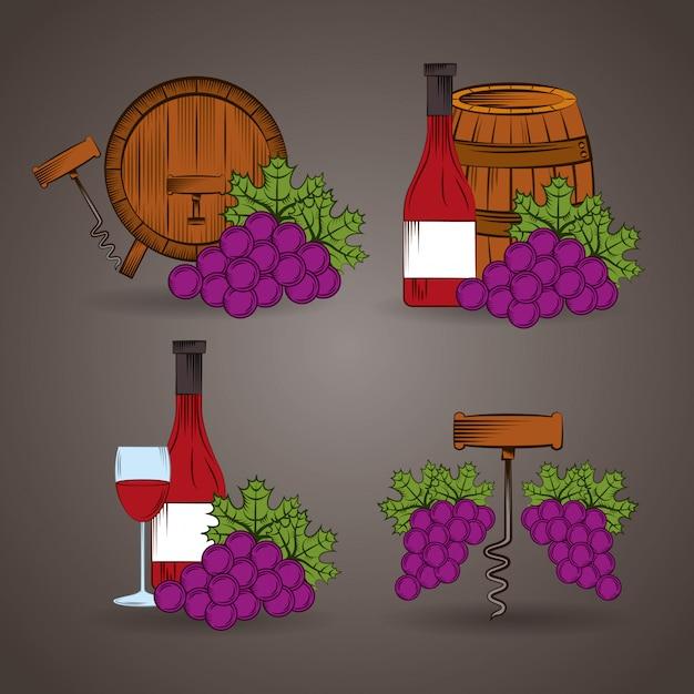 Cartaz da casa de vinho com ilustração de barril e uvas Vetor Premium