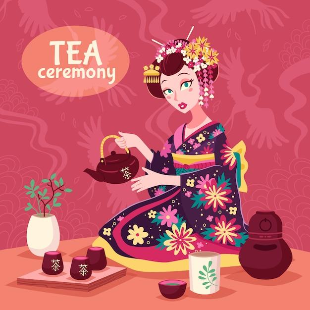 Cartaz da cerimónia de chá Vetor grátis