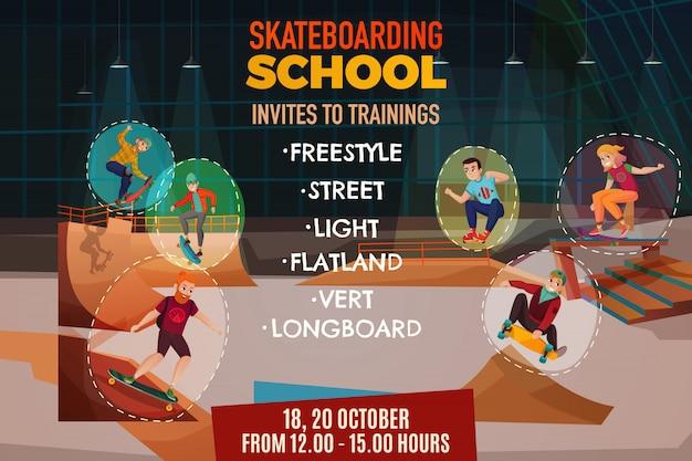 Cartaz da escola de skate Vetor grátis