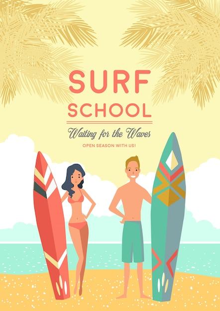 Cartaz da escola de surf Vetor grátis
