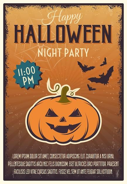 Cartaz da festa da noite de halloween Vetor grátis