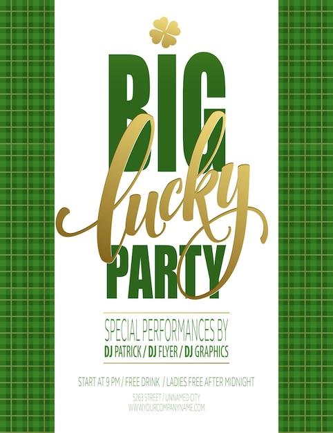 Cartaz da festa da sorte. dia de são patricio. ilustração Vetor Premium