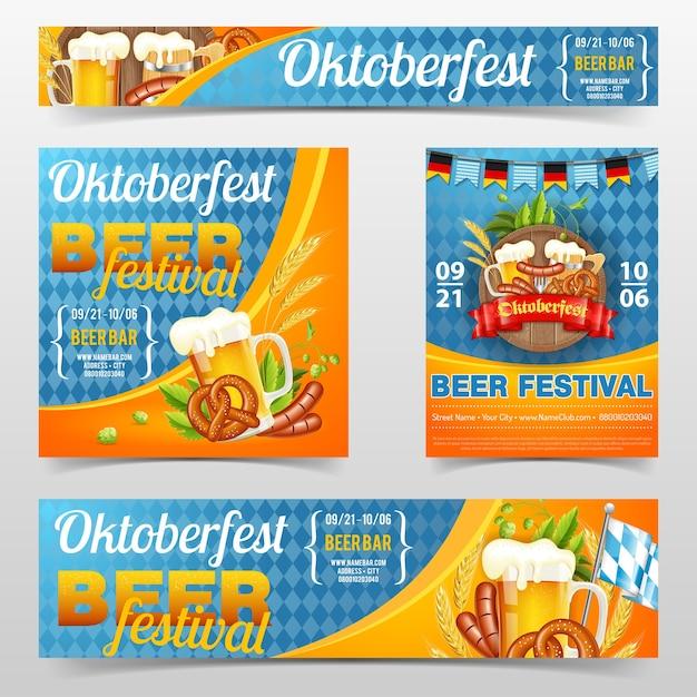 Cartaz da festa de celebração do festival de cerveja oktoberfest e banner com barril, copo de cerveja lager, cevada, lúpulo, pretzels, salsichas e fita. no fundo azul da bandeira alemã tradicional Vetor Premium
