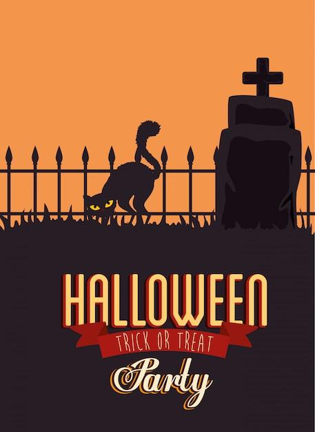 Cartaz da festa de halloween com gato preto e lápide Vetor grátis