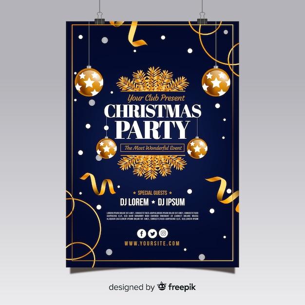 Cartaz da festa de natal Vetor grátis