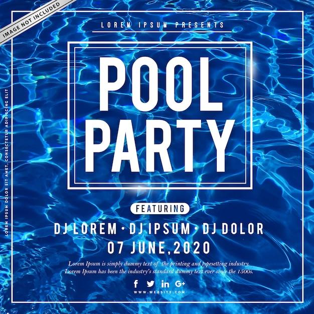 Cartaz da festa na piscina de verão Vetor Premium