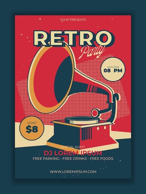 Cartaz da festa retro em vetor com ilustração de gramofone vintage Vetor grátis