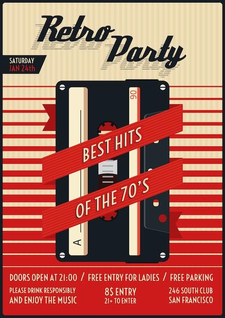Cartaz da festa retrô. vintage e nostalgia, vida noturna cheia de estilo. ilustração vetorial Vetor Premium