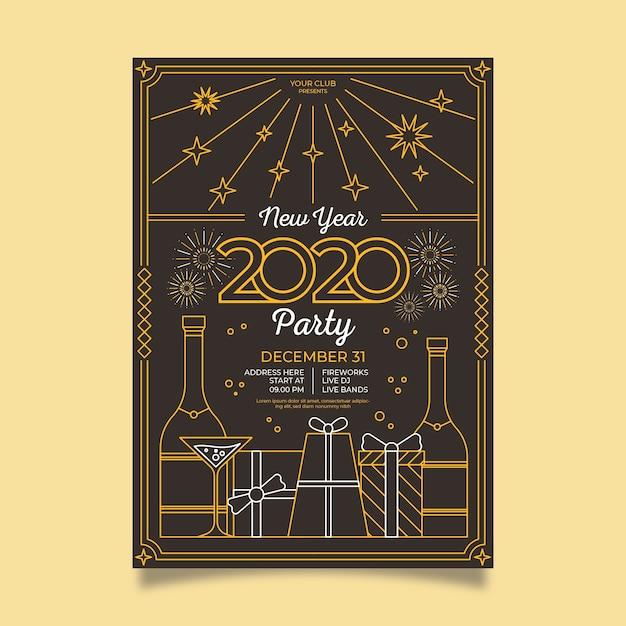 Cartaz da festa vintage com caixas de presente no estilo de estrutura de tópicos Vetor grátis