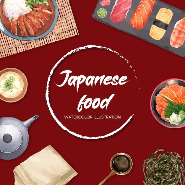 Cartaz da ilustração do restaurante de sushi. de inspiração japonesa em estilo moderno Vetor grátis