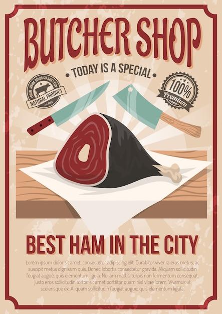 Cartaz da loja de carniceiro Vetor grátis