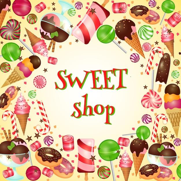 Cartaz da loja de doces com doces e pirulitos. sorvete, comida gostosa, Vetor grátis