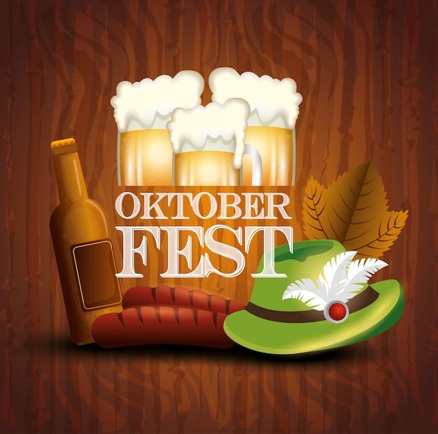 Cartaz da oktoberfest com jar cervejas e ícones Vetor grátis