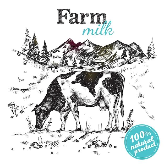 Cartaz da paisagem da fazenda de vaca Vetor Premium