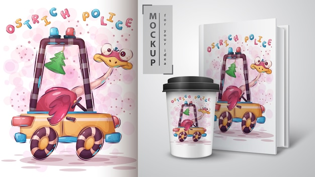 Cartaz da polícia de avestruzes e merchandising Vetor Premium
