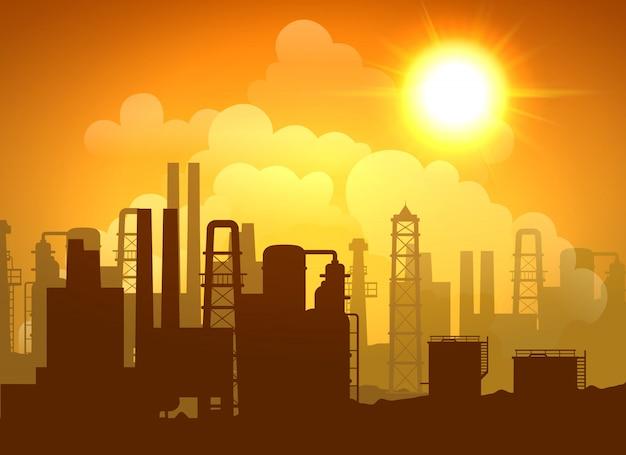 Cartaz da refinaria de petróleo Vetor grátis